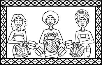 Mother's Day Coloring Page (Traditional Moms From South Africa)