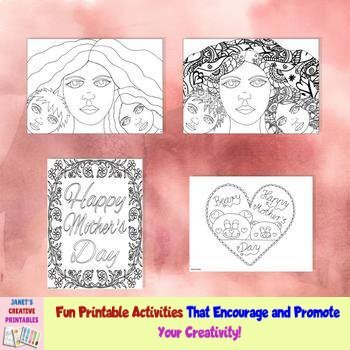 Mother's Day Coloring Pages - Set of 4