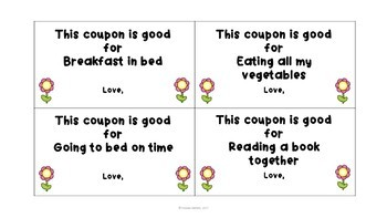 Mother's Day Coupons and Craftivity