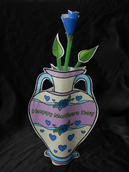 Mother's Day Craft Activities: 3D Vase & Rose Craft Activity Packet