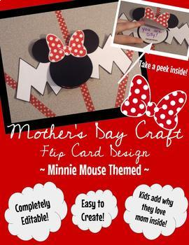 Mother's Day Craft (Flip Card Design) - Minnie Mouse Inspired & Editable