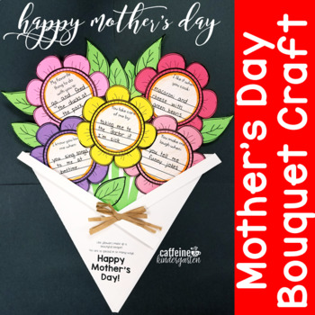 Mother S Day Craft Flower Bouquet Card Writing Activity Tpt