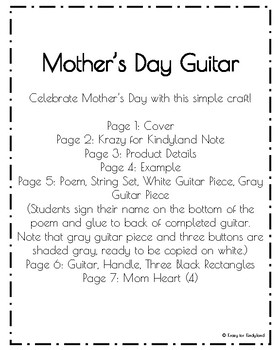 Mothers Day Craft And Poem For Kindergarten My Mom Rocks Guitar