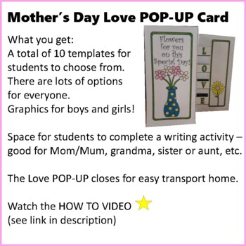 Mother's Day Crafts - Love POP-UP Card