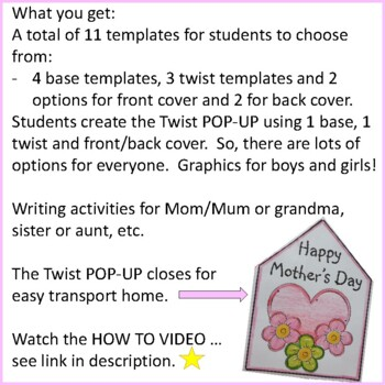 Mother's Day Crafts - Twist POP-UP Craftivity