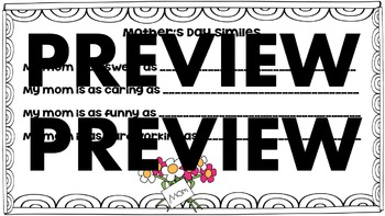 Mother's Day Crafts and Writing Activities : similes, adjectives, coupon book