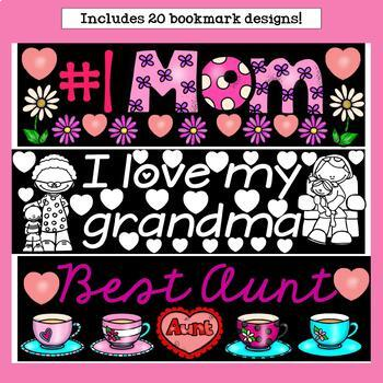 Mother's Day Cut n' Color Bookmarks: Black and White AND Full Color