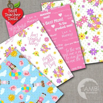 Mother's Day Digital Papers, {Best Teacher Tools} AMB-1279