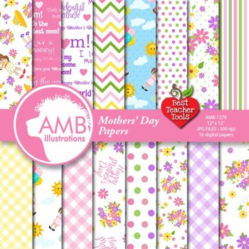 Mother's Day Digital Papers, Shabby chic papers, floral pa