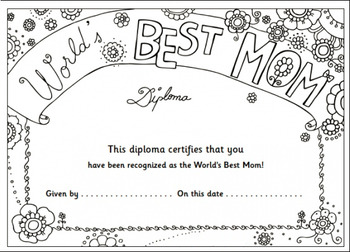 Mother S Day Diploma By Kindie Land Resources Teachers
