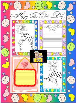 Mother's Day - Father's Day - Dolphin Art - Coloring Activities - Writing Paper