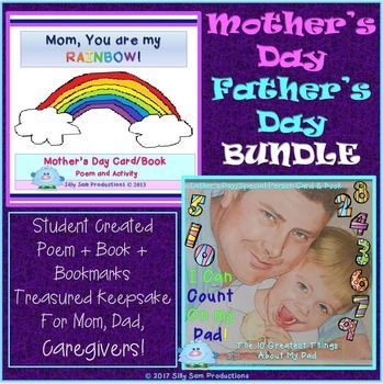 Mother's Day Father's Day GIFT BUNDLE Card Book and Keepsake Bookmarks