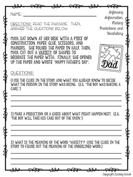 Mother's Day & Father's Day Mini Stories for Inferring, Predicting, & Vocabulary