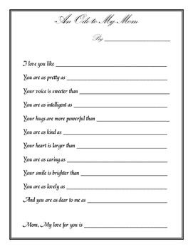 Mother's Day Figurative Language Poem