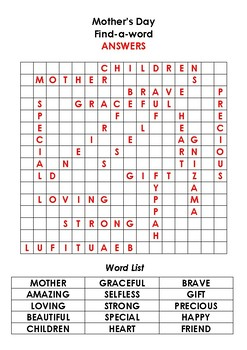 Mother's Day Find a word