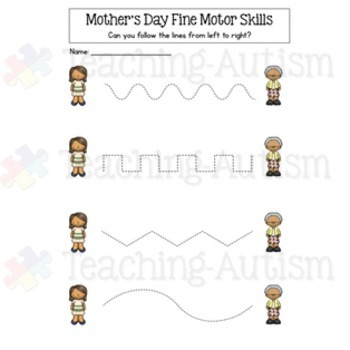 Mother's Day Fine Motor Skill Worksheets
