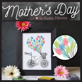 Mother's Day Finger Paint Art Activity Bicycle and Balloons
