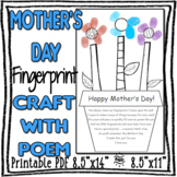 Mother's Day Fingerprint Craft with Sweet Poem - PRINTABLE PDF - two sizes!