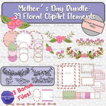 Mother's Day Floral Clip Art and Frames Mega Bundle