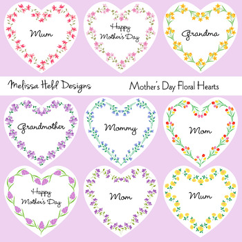 Mother's Day Floral Hearts Clipart
