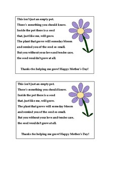 Mother's Day Flower Pot Poem