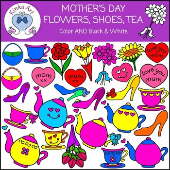 Mother's Day - Flowers, Shoes, High Tea Clip Art