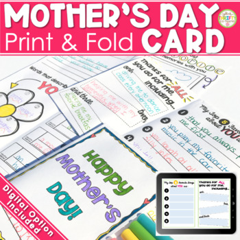 Mother's Day Fold-and-Go Card for ANY Mom (Generic) No Cut No Prep