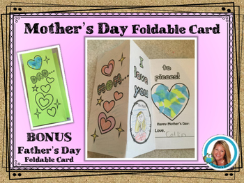 Mother's Day Foldable Card with Bonus Father's Day Card