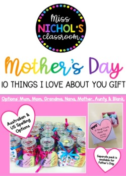 Mother's Day Gift '10 Things I Love About You' Mason Jar