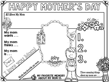 Mother's Day Writing Activity Doodle Poster