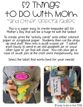 Mother's Day Gift {52 Things to Do with Mom Keepsake}