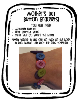 Mother's Day Gift - Button Bracelet Poem