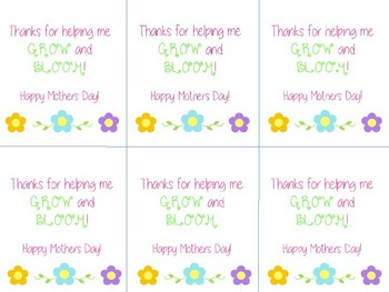 Mother's Day Gift Tag for Plant or Flower