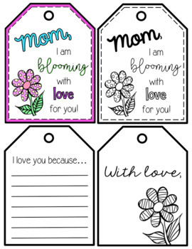 Mother's Day Gift Tags and Writing