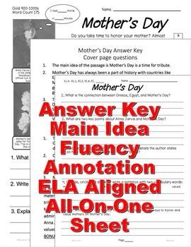 Mother's Day HW Close Read: 5 Levels, Main Idea, Fluency, TDQs