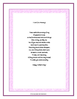 Mother's Day Hand Print Poem Template!