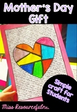 Mother's Day Handmade Craft Drawing Activity as Gift for students