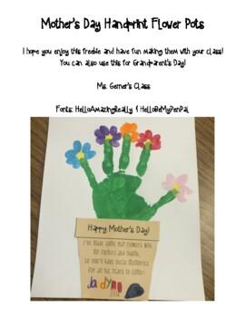 mother 39 s day grandparent 39 s day handprint flower pot craft tpt. Black Bedroom Furniture Sets. Home Design Ideas