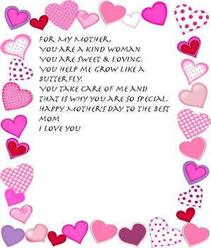 Mother's Day Handprint Poem English & Spanish