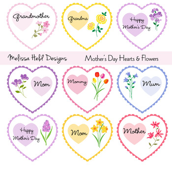 Mother's Day Heart & Flowers Clipart