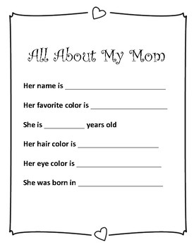 Mother's Day Interactive Workbook
