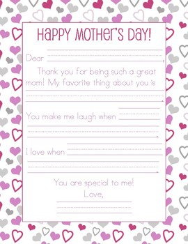 graphic about Printable Fill in called Moms Working day Letters (2 Models in the direction of Come to a decision towards) - Fill in just the Blank Printable