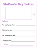 Mother's Day Literacy Activity