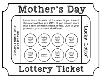 Mother's Day Lotto Scratch-off Cards