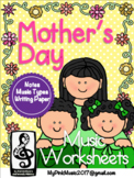 Mother's Day MUSIC Sheets: color by note/hidden pictures/word search/writing pgs