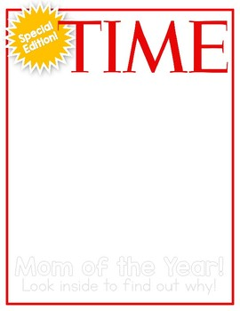 Mother's Day Magazine Cover with Writing! (TIME Magazine)