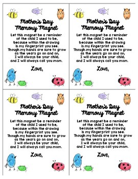 Mothers Day Fingerprint Poem & Worksheets | Teachers Pay Teachers