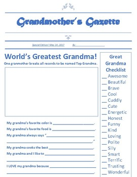 Mother's Day Newspaper Article for Grandmothers