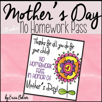 Mother's Day No Homework Pass