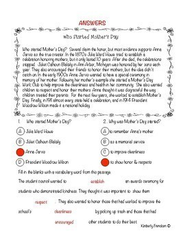 Mother's Day Non-Fiction Reading Lessons